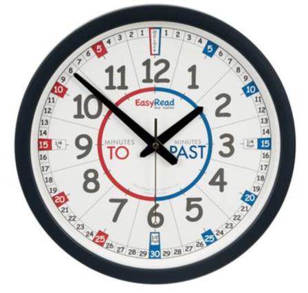 Easy Read Time Teacher Wall Clock Edushop